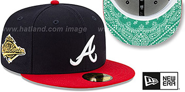 Braves 'BANDANA KELLY BOTTOM' Navy-Red Fitted Hat by New Era