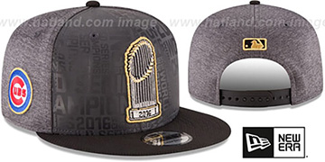 Cubs '2016 WORLD SERIES TROPHY SNAPBACK' Grey-Black Hat by New Era