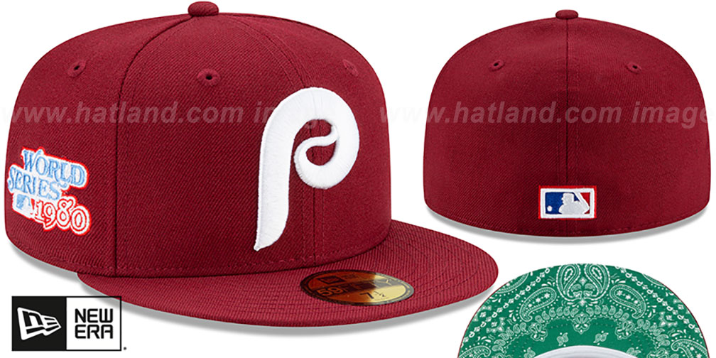 Phillies 'BANDANA KELLY BOTTOM' Burgundy Fitted Hat by New Era