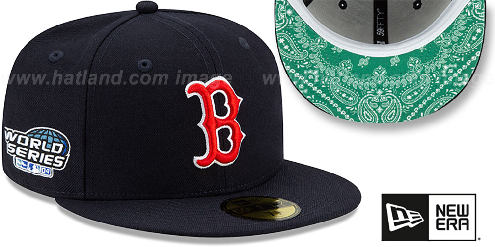 Red Sox 'BANDANA KELLY BOTTOM' Navy Fitted Hat by New Era