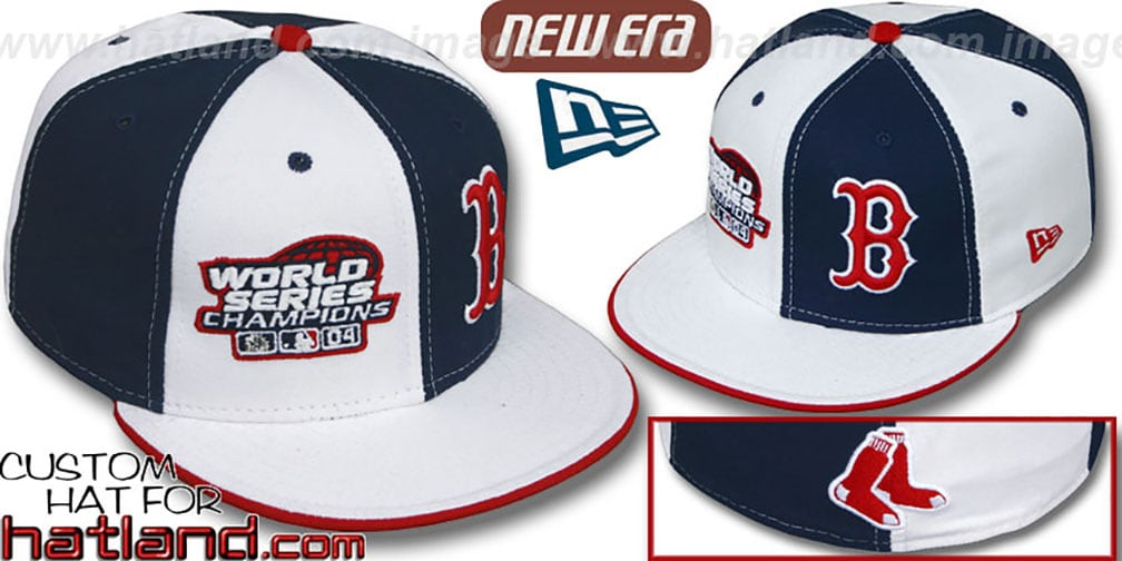 Red Sox 'WS CHAMPS' DOUBLE WHAMMY White-Navy Fitted Hat